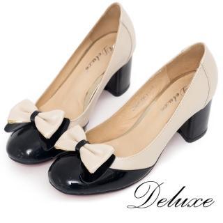 【Deluxe】全真皮圓頭粗跟鞋(撞色蝴蝶結-米黑)