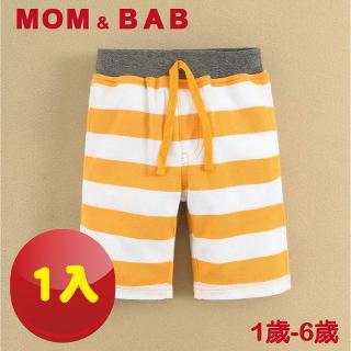 【MOM AND BAB】橫條五分純棉休閒褲-橙白-單件組(12M-6T)
