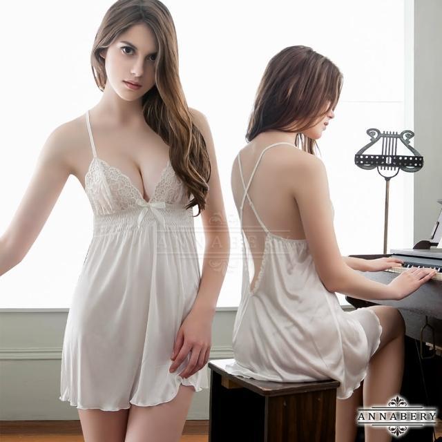 【Annabery】大尺碼Annabery白潤交叉肩帶美背柔緞二件式睡衣
