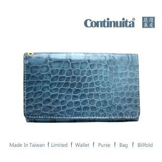 【真皮屋 CONTINUITA】MIT 鱷魚紋手拿包(藍色)
