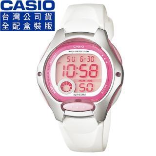【CASIO】卡西歐鬧鈴多時區兒童電子錶-粉紅白(LW-200-7A 公司貨全配盒裝)