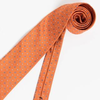 【極品西服】義大利Teflon防潑水領帶_橘色底圓點(YT0139)