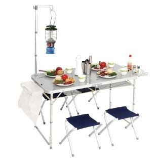 【PINUS】鋁合金折疊桌椅 附燈架 / 4張椅 / 置物網 P13710(戶外桌椅)