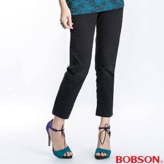 【BOBSON】斜口袋反褶七分褲(黑194-87)