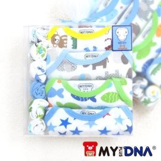 【MY+DNA熊本部】紗袋彌月禮盒純棉包屁衣四件組 長袖男款(B0001-03)