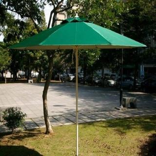 【BROTHER 兄弟牌】九尺玻璃纖維骨架+鐵管烤漆防水太陽傘(綠色)