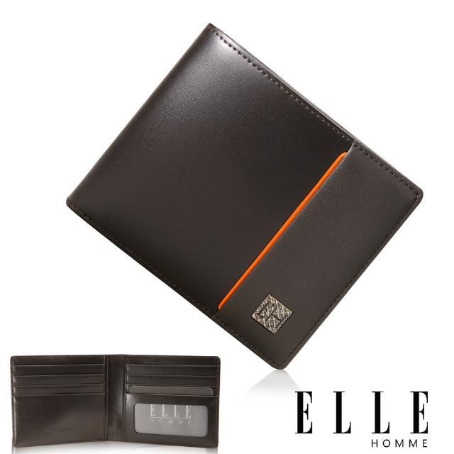 【ELLE HOMME】法式精品義大利頭層皮、鈔票多層/證件多層/名片多層格短夾(咖啡EL81961-45)