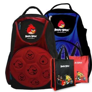 【Angry Birds憤怒鳥】1+1足球造型硬殼書背包+手提萬用袋(紅/藍_AB4_1+1)
