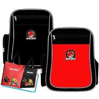 【Angry Birds 憤怒鳥】1+1MIT元氣護脊書背包+直立式手提萬用袋(紅/黑_AB2)