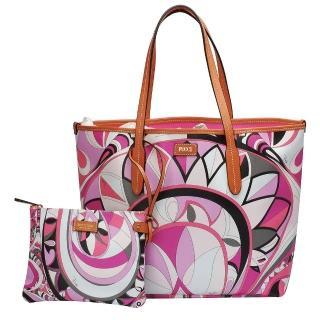 【EMILIO PUCCI】幾何印花牛皮飾邊子母包(中-粉紅-附萬用小袋41BE15-41229-H59)