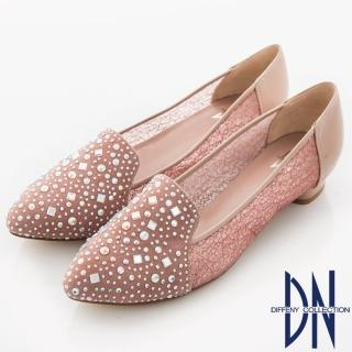 【DN】迷人時尚 MIT真皮水鑽網布低跟尖頭鞋(粉)