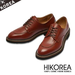 【HIKOREA韓國皮鞋】正韓空運。真牛皮超輕量圓頭剪接皮鞋(73-95暗紅/現貨)