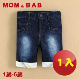 【MOM AND BAB】格紋五分純棉牛仔褲-單件組(12M-6T)