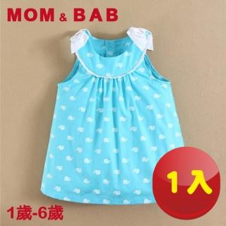 【MOM AND BAB】冰雪鯨魚水藍無袖連身裙-單件組(12M-6T)