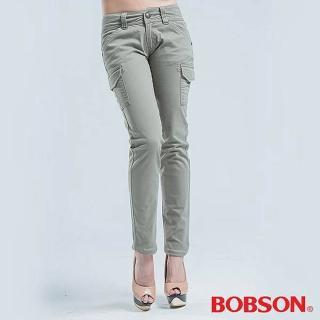 【BOBSON】女款側貼袋小直筒色褲(淺綠)