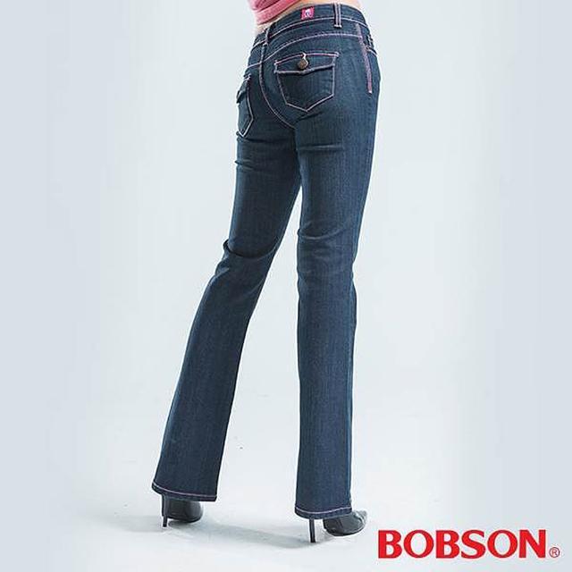 好物推薦-【BOBSON】貓鬚刷白伸縮小喇叭褲(藍色)