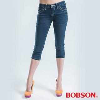 【BOBSON】彩線伸縮七分褲(藍色)