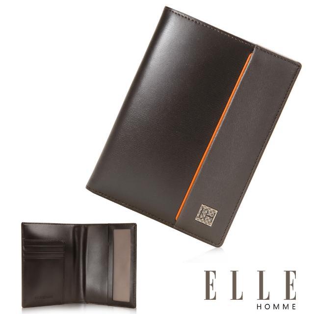 【ELLE HOMME】法式 護照中夾 嚴選義大利頭層牛皮(咖啡EL81967-45)