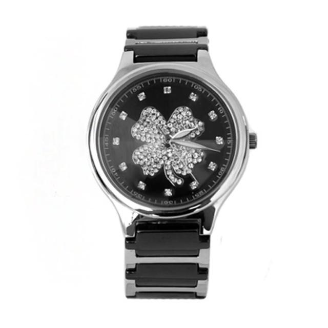【范倫鐵諾˙古柏】幸運草水鑽精密陶瓷不鏽鋼手錶腕錶