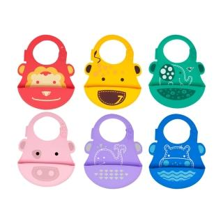 【MARCUS&MARCUS】動物樂園矽膠立體圍兜(多款繽紛任選)