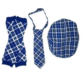 【美國 juDanzy】紳士寶寶禮盒三件組_海軍藍格紋款(Z005)