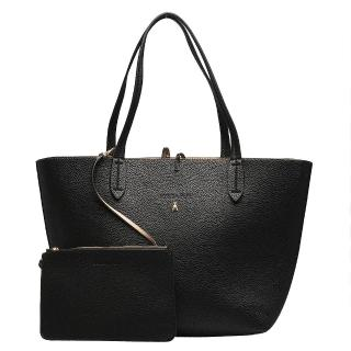 【PATRIZIA PEPE】荔枝紋雙色子母購物包(黑X粉膚2V4741-AV63-F2SL-BLK)