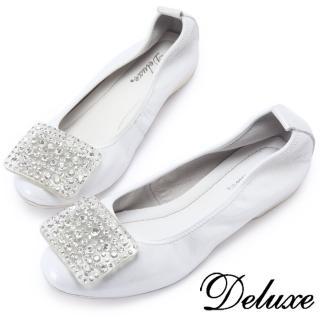 【Deluxe】大小水滴亮鑽平底娃娃鞋(銀色)