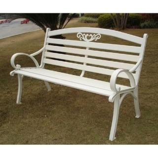 【BROTHER 兄弟牌】雅典鋁合金雙人公園椅(白色)