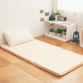 【LAMINA】菱格紋兩用透氣床墊-黃-5cm(單人)
