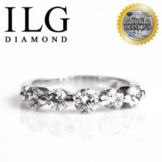 【美國ILG鑽飾】頂級八心八箭擬真鑽石戒指-RI048-歐式線戒 名媛風格款五顆美鑽線戒款(戒指)