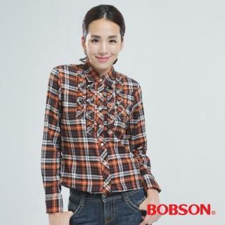 【BOBSON】綁帶.長版格子衫(橘色30122-75)