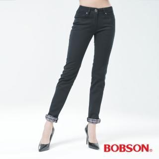 【BOBSON】女款熱感IN小直筒褲(黑色8038-87)