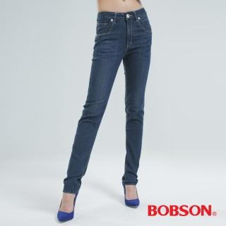 ~BOBSON~鑽飾.刺繡小直筒褲 中藍8045~52