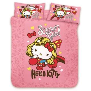 【享夢城堡】精梳棉雙人床包涼被四件式組(HELLO KITTY 女超人-粉)