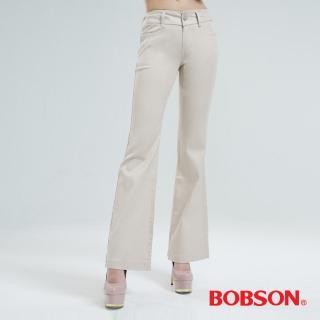 【BOBSON】高腰頭鑽飾伸縮喇叭褲(淺卡其9050-72)