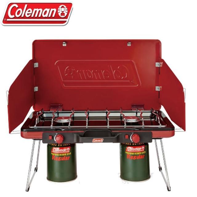 【美國Coleman】7000kcal輕薄雙口瓦斯爐(CM-21950 紅)促銷商品