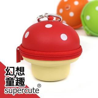 【supercute】蘑菇鑰匙零錢包/鑰匙包/奶嘴收納包/零錢包/耳機收納包(紅)