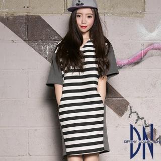 【DN Italy】慵懶自在 條紋拼接素面V領洋裝(深藍)