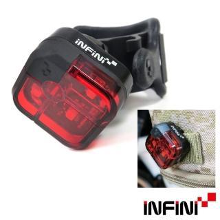 【INFINI】ARIA I-220R 2段模式背夾設計3LED紅光台灣製自行車後燈/警示燈-黑色(尾燈 自行車燈 慢跑)