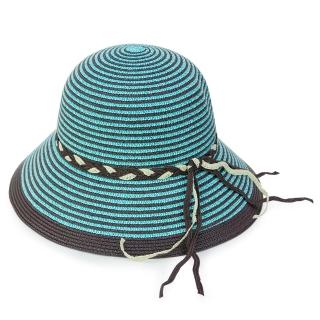 【Limehi】時尚造型編織帶草帽 沙灘遮陽帽 可折疊帽 翻邊圓帽(水藍咖 Lime-10)