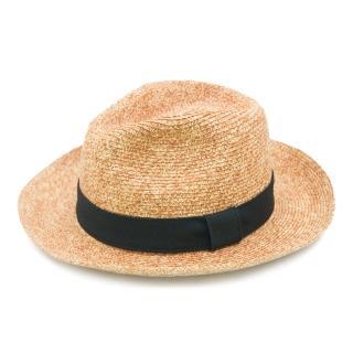 【Limehi】時尚造型黑緞帶草帽 沙灘遮陽帽(棕黑 Lime-15)