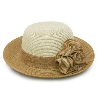 【Limehi】時尚造型花邊草帽 沙灘遮陽帽 翻邊圓帽(米白咖 Lime-16)