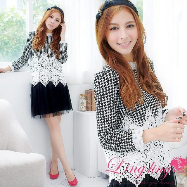 【lingling】優雅造型蕾絲千鳥格圖案立領上衣PA1839(復古黑白)哪裡買便宜?