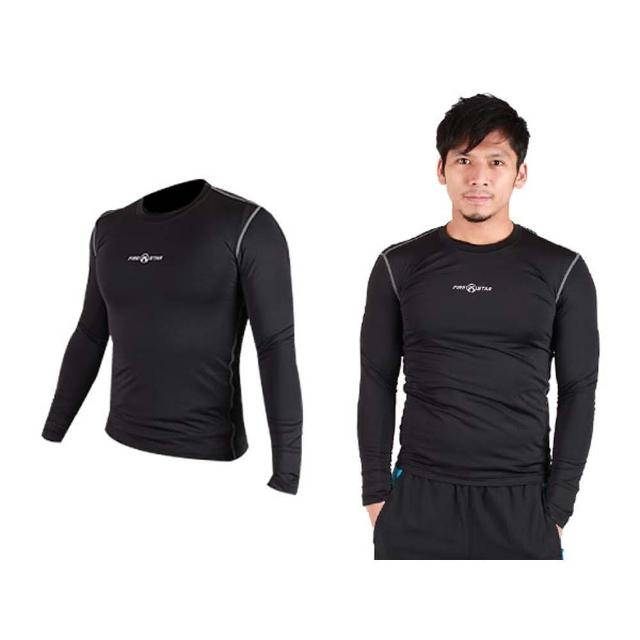 【FIRESTAR】男緊身長袖T恤-慢跑 路跑 運動T恤(黑灰)