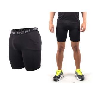 【FIRESTAR】男機能緊身短褲-慢跑 路跑 運動短褲 黑(N3802-10)