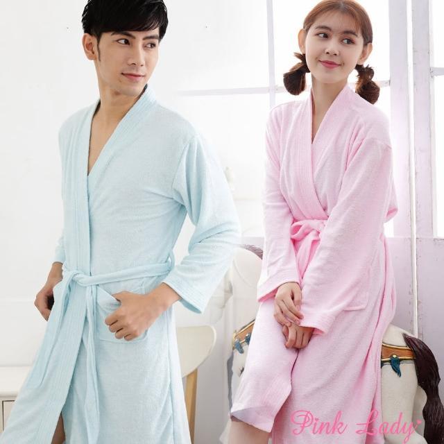 【PINK LADY】浪漫生活-吸水毛巾布純色浴袍8788-1(白/粉/藍)