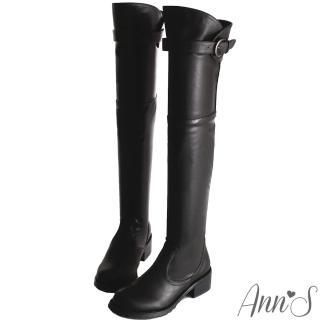 【Ann'S】美腿曲線花苞釦帶貼腿過膝靴(黑)
