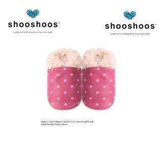 【shooshoos】安全無毒真皮健康手工學步鞋/嬰兒鞋/室內鞋/室內保暖鞋_桃紅點點毛毛(公司貨)