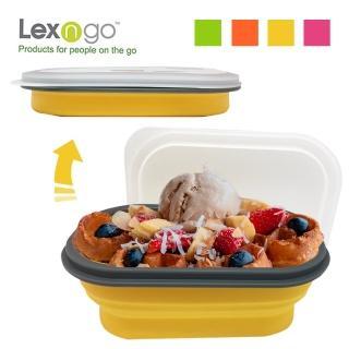 【Lexngo】可折疊快餐盒中-850ml(餐盒 環保 便當盒 折疊 野餐)