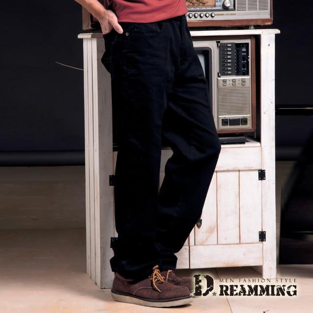 【Dreamming】素面精緻車線伸縮中直筒休閒長褲(黑色)新品上市